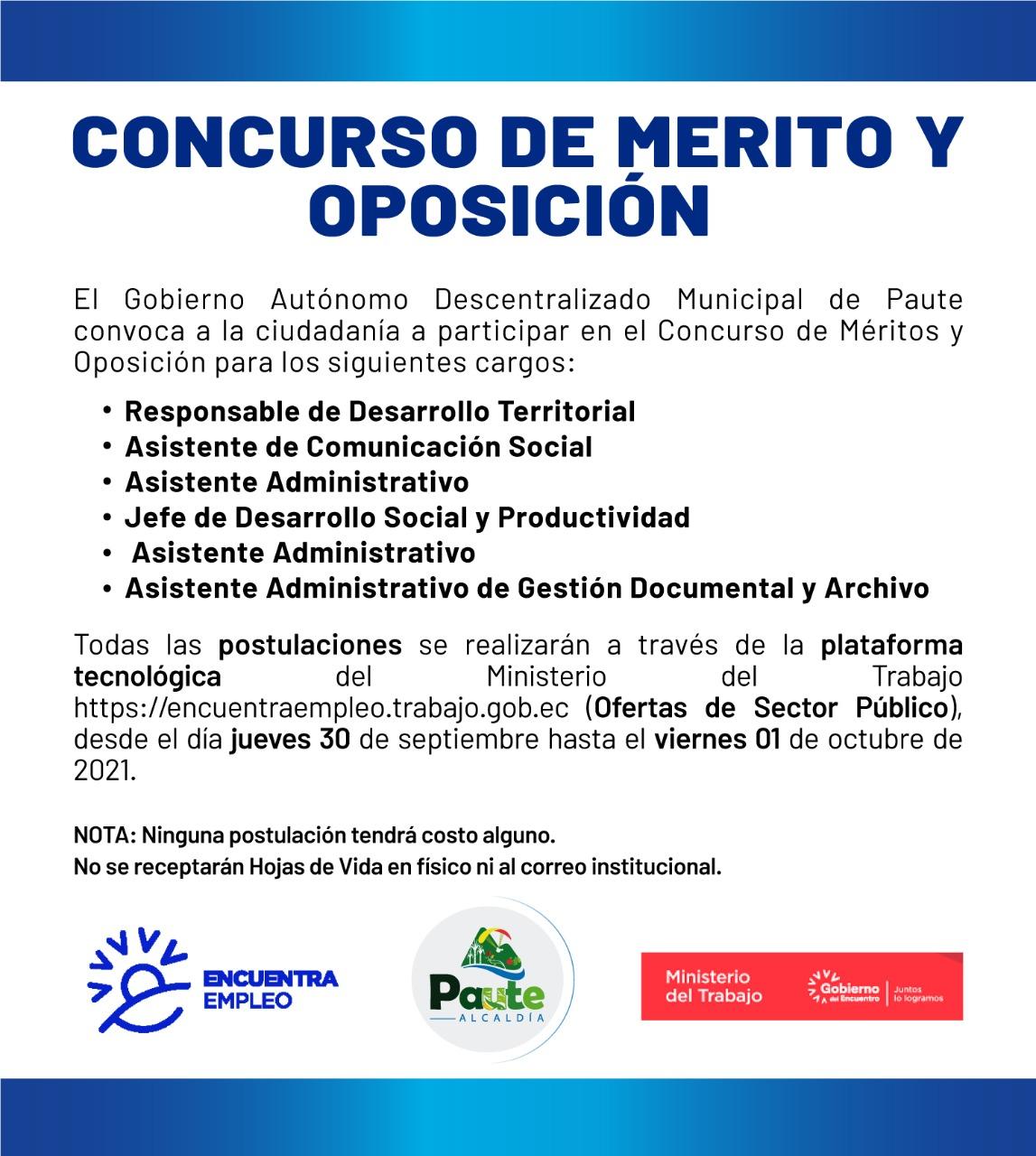 CONCURSO DE MÉRITOS Y OPOSICIÓN 2021